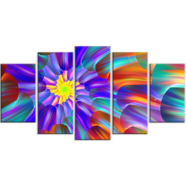 Design Art Spectacular Stain Glass With Spirals Large Floral Canvas Art Print - 5 Panels