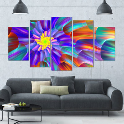 Designart Spectacular Stain Glass With Spirals Large Floral Canvas Art Print - 5 Panels