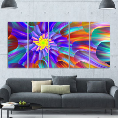 Spectacular Stain Glass With Spirals Floral CanvasArt Print - 5 Panels
