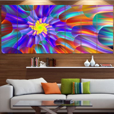 Designart Spectacular Stain Glass With Spirals Floral Canvas Art Print - 6 Panels