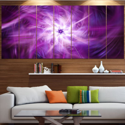 Rotating Bright Purple Fireworks Large Floral Canvas Art Print - 5 Panels