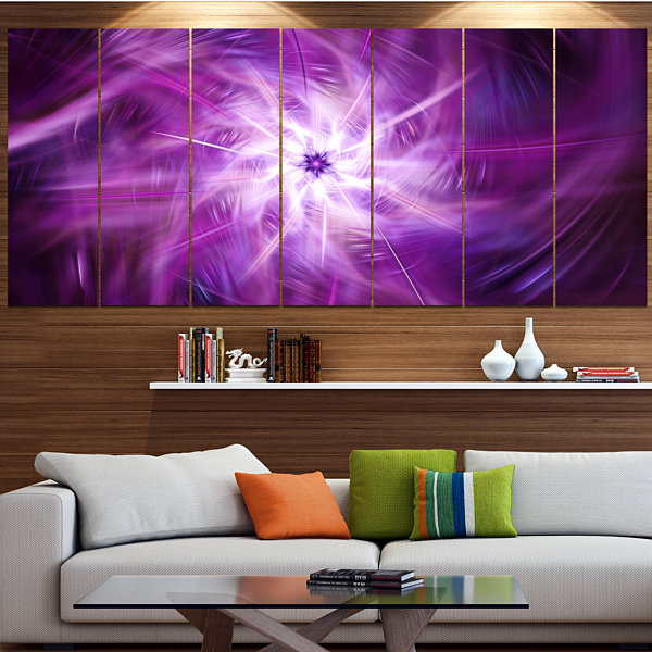 Designart Rotating Bright Purple Fireworks FloralCanvas Art Print - 5 Panels