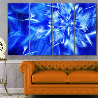 Rotating Bright Blue Fireworks Floral Canvas Art Print - 4 Panels