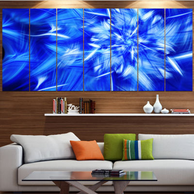 Designart Rotating Bright Blue Fireworks Large Floral Canvas Art Print - 5 Panels