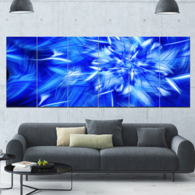 Rotating Bright Blue Fireworks Floral Canvas Art Print - 6 Panels