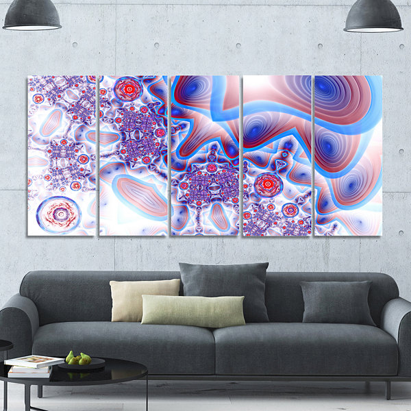 Design Art Beautiful Extraterrestrial Life Cells Floral Canvas Art Print - 5 Panels