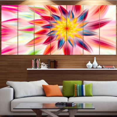 Designart Pink Dancing Flower Petals Floral CanvasArt Print- 4 Panels