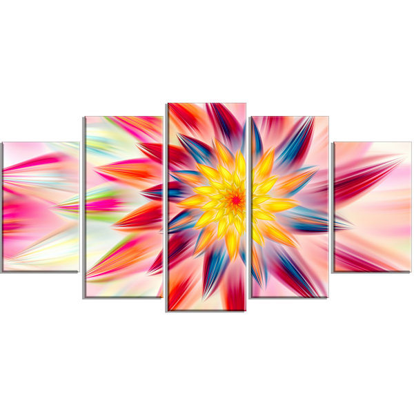 Design Art Pink Dancing Flower Petals Large FloralCanvas Art Print - 5 Panels