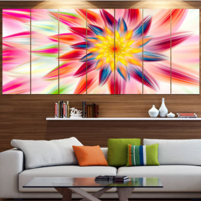 Designart Pink Dancing Flower Petals Floral CanvasArt Print- 7 Panels
