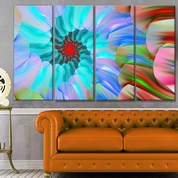 Designart Blue Colored Stain Glass With Spirals Floral Canvas Art Print - 4 Panels