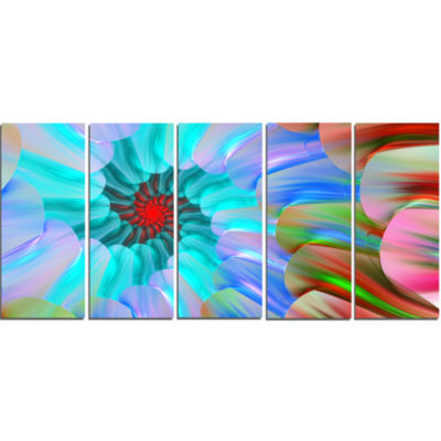 Blue Colored Stain Glass With Spirals Floral Canvas Art Print - 5 Panels
