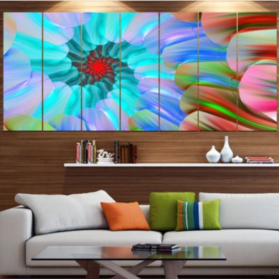 Design Art Blue Colored Stain Glass With Spirals Floral Canvas Art Print - 6 Panels