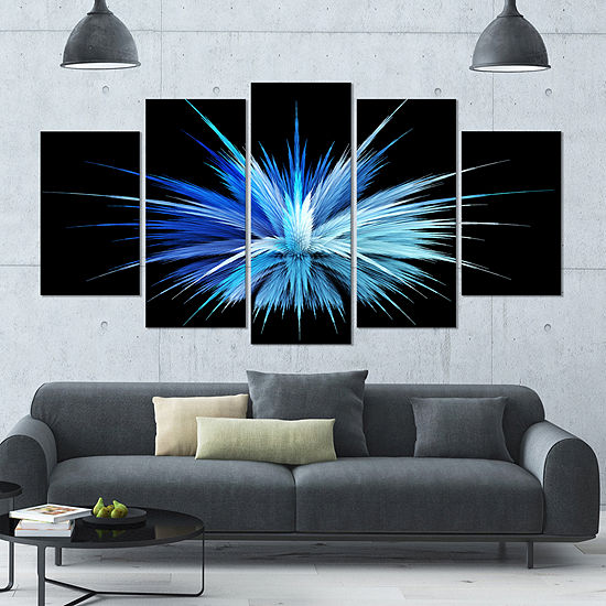 Designart Colorful Blue Fountain Of Crystals Floral Canvas Art Print - 4 Panels