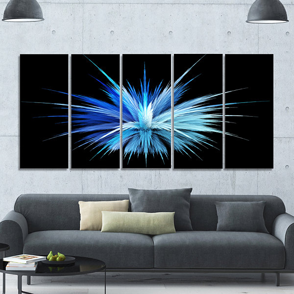 Designart Colorful Blue Fountain Of Crystals Floral Canvas Art Print - 5 Panels