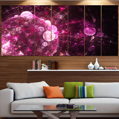 Designart Pink On Black World Bubbles Floral Canvas Art Print - 6 Panels
