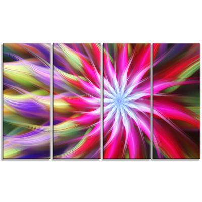 Designart Pink Flower Dance Bright Spiral FloralCanvas Art Print - 4 Panels