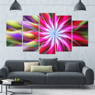 Designart Pink Flower Dance Bright Spiral Large Floral Canvas Art Print - 5 Panels