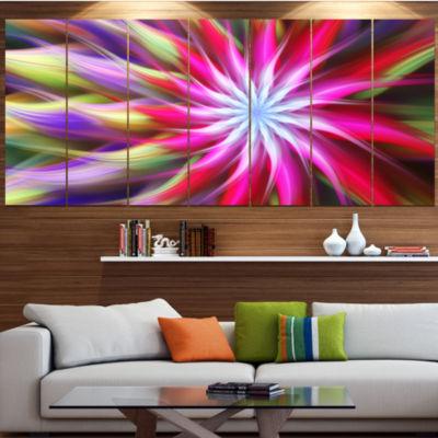 Designart Pink Flower Dance Bright Spiral FloralCanvas Art Print - 5 Panels