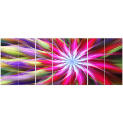 Designart Pink Flower Dance Bright Spiral FloralCanvas Art Print - 7 Panels