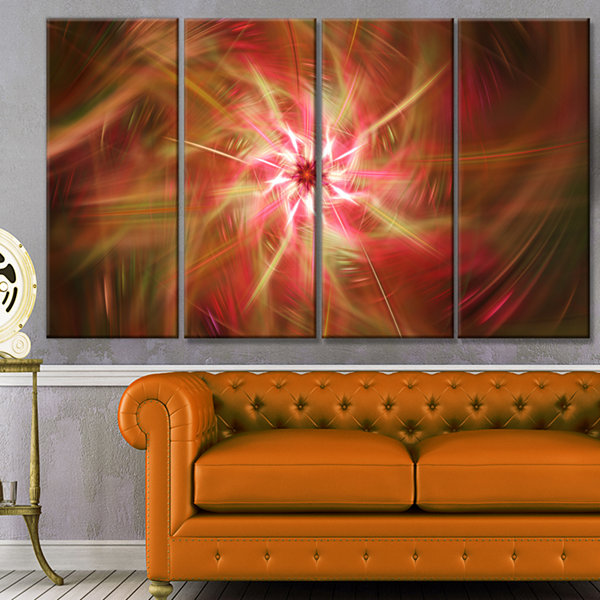 Designart Rotating Brown Bright Fireworks FloralCanvas Art Print - 4 Panels
