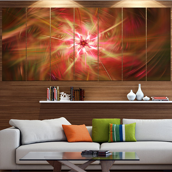 Designart Rotating Brown Bright Fireworks Large Floral Canvas Art Print - 5 Panels