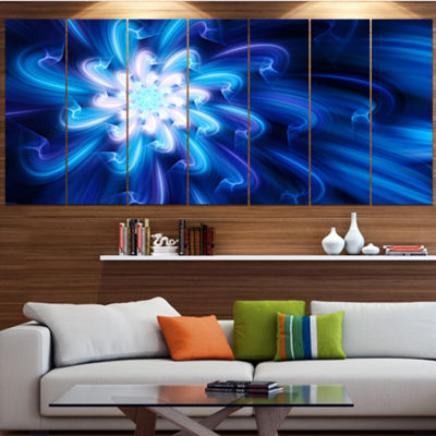 Designart Exotic Blue Flower Dance Of Petals Floral Canvas Art Print - 7 Panels