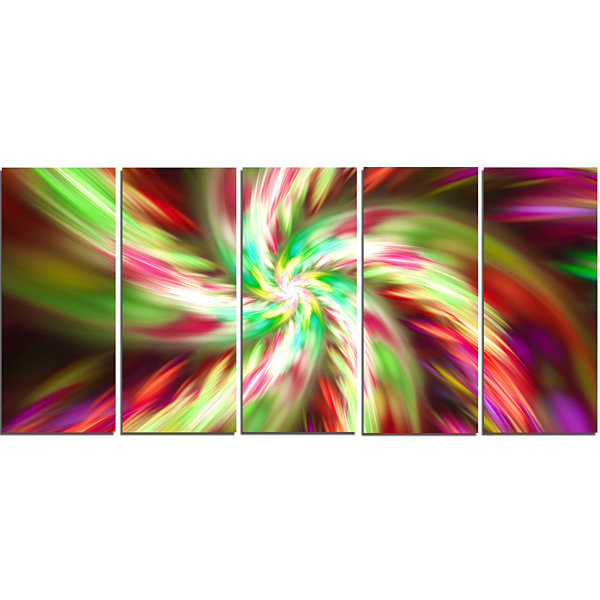 Designart Exotic Multi Color Flower Petal Dance Floral Canvas Art Print - 5 Panels
