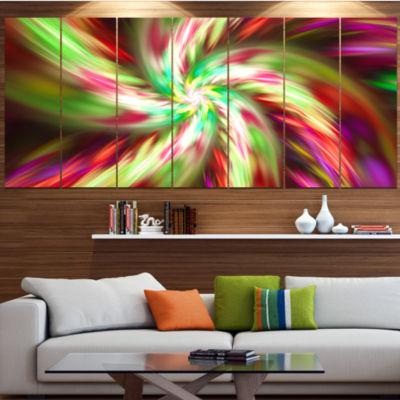 Designart Exotic Multi Color Flower Petal Dance Floral Canvas Art Print - 7 Panels