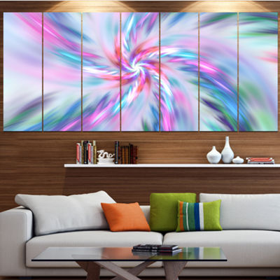 Designart Exotic Light Blue Flower Petal Dance Floral Canvas Art Print - 4 Panels
