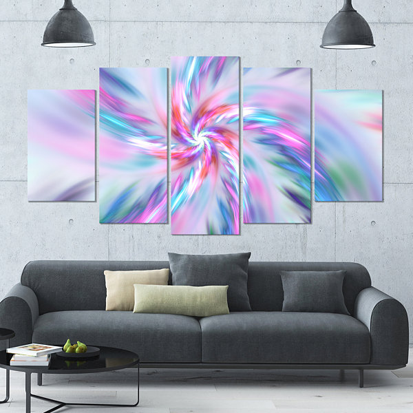 Design Art Exotic Light Blue Flower Petal Dance Large Floral Canvas Art Print - 5 Panels