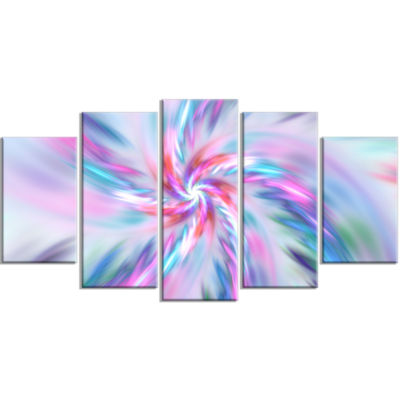 Exotic Light Blue Flower Petal Dance Large FloralCanvas Art Print - 5 Panels