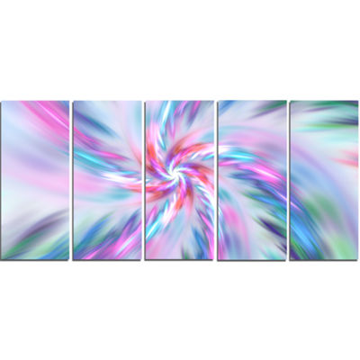 Designart Exotic Light Blue Flower Petal Dance Floral Canvas Art Print - 5 Panels
