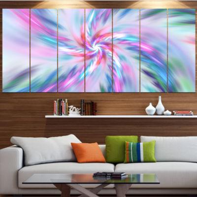 Designart Exotic Light Blue Flower Petal Dance Floral Canvas Art Print - 6 Panels