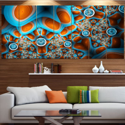 Brown Extraterrestrial Life Forms Floral Canvas Art Print - 4 Panels