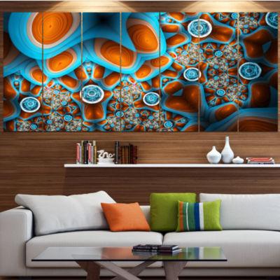 Designart Brown Extraterrestrial Life Forms FloralCanvas Art Print - 6 Panels