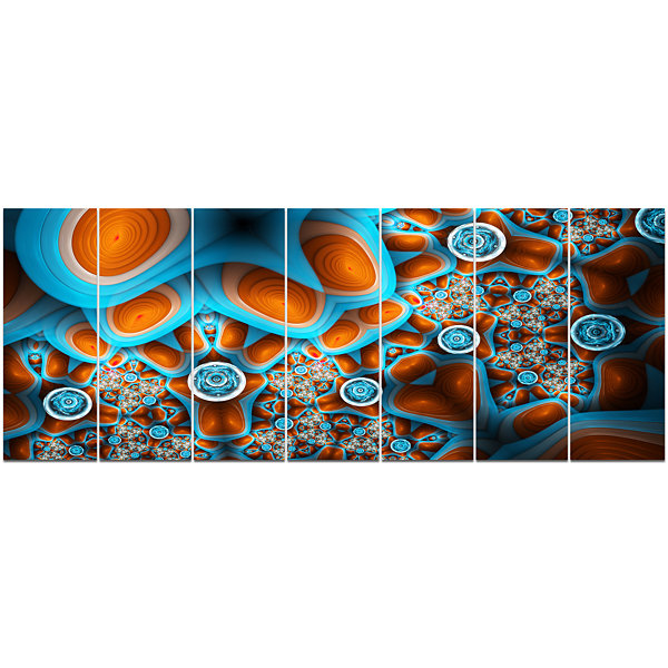 Design Art Brown Extraterrestrial Life Forms Floral Canvas Art Print - 7 Panels