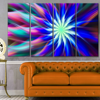 Designart Dance Of Bright Spiral Blue Flower Floral Canvas Art Print - 4 Panels
