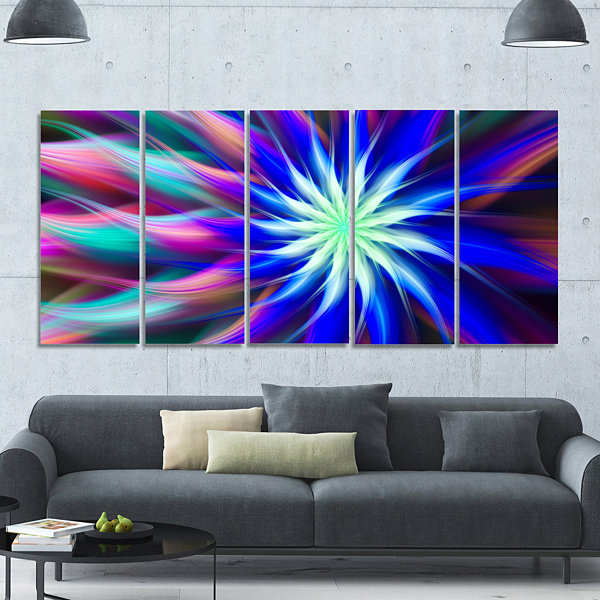 Designart Dance Of Bright Spiral Blue Flower Floral Canvas Art Print - 5 Panels