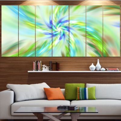 Dance Of Bright Spiral Green Flower Floral CanvasArt Print - 6 Panels