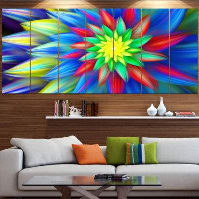 Designart Dance Of Bright Multi Color Flower Floral Canvas Art Print - 4 Panels