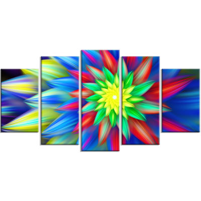 Designart Dance Of Bright Multi Color Flower LargeFloral Canvas Art Print - 5 Panels