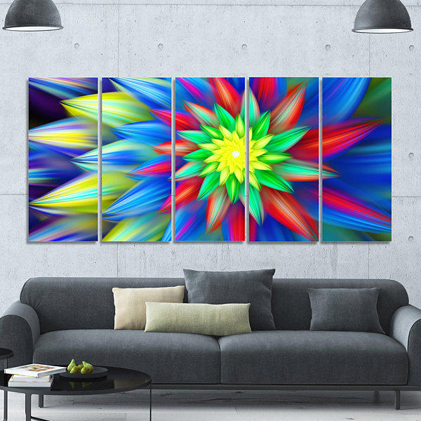 Designart Dance Of Bright Multi Color Flower Floral Canvas Art Print - 5 Panels