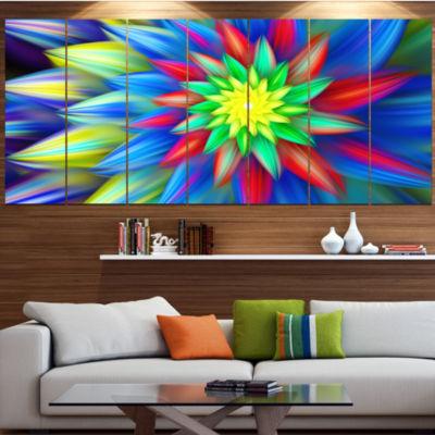 Designart Dance Of Bright Multi Color Flower Floral Canvas Art Print - 5 Panels