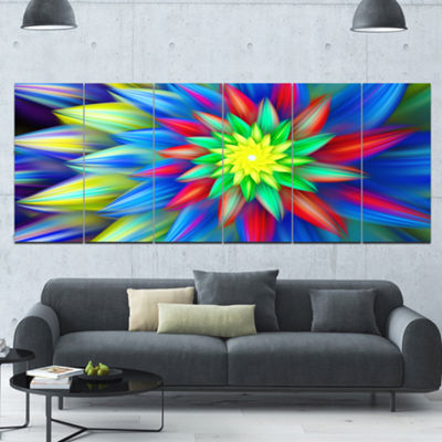 Designart Dance Of Bright Multi Color Flower Floral Canvas Art Print - 6 Panels