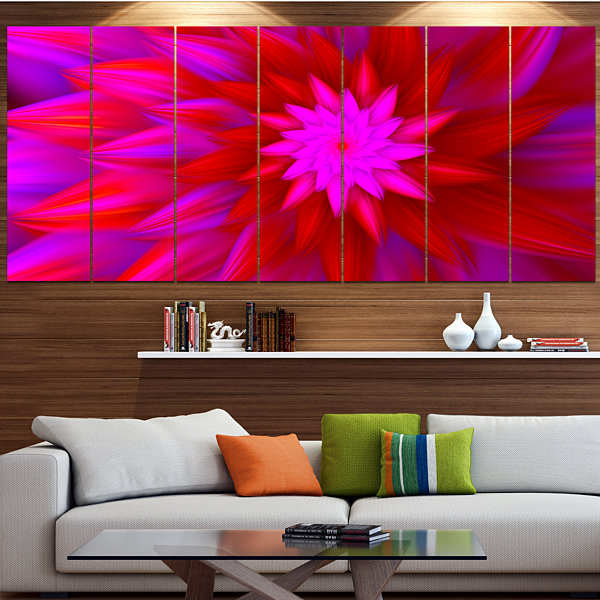 Design Art Dance Of Bright Spiral Pink Flower Floral Canvas Art Print - 7 Panels