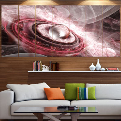 Designart Crystal Rotating Flying Saucer Floral Canvas Art Print - 4 Panels