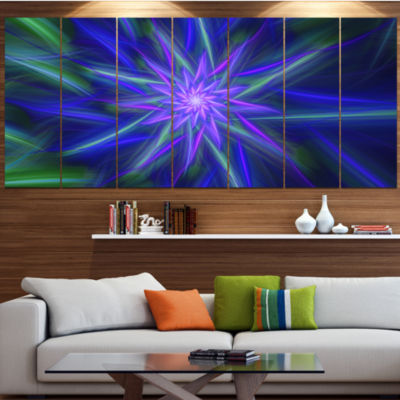 Designart Shining Blue Exotic Fractal Flower LargeFloral Canvas Art Print - 5 Panels