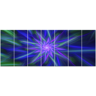 Shining Blue Exotic Fractal Flower Floral Canvas Art Print - 7 Panels