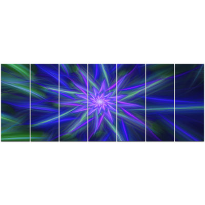 Designart Shining Blue Exotic Fractal Flower Floral Canvas Art Print - 7 Panels