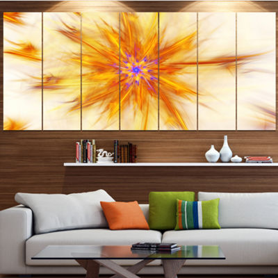 Designart Shining Yellow Exotic Fractal Flower Large Floral Canvas Art Print - 5 Panels